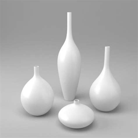 White Vase Set by White Decor Vase Set 3d Model Obj 3ds Fbx Dae Mtl