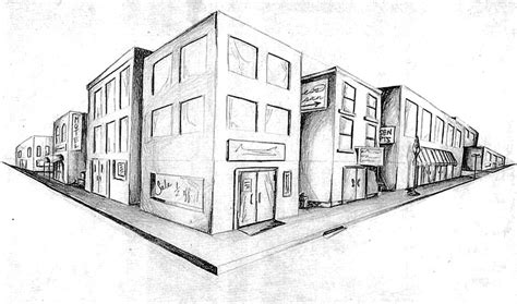 2 Point Perspective Drawing Cityscape by Seventh Grade Dacula Middle School Visual Arts