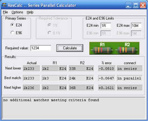 resistor needed calculator resistor combination calculator rescalc diyaudio