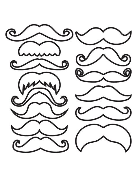 Mustache Template Outline by Photobooth Outline Pdf Mustaches