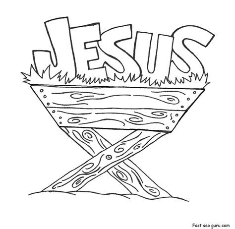 print out jesus in the manger coloring pages printable