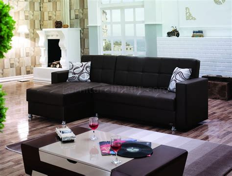salem upholstery salem sectional sofa convertible in brown leatherette by
