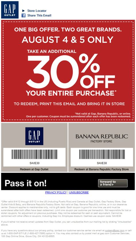 printable coupons gap outlet usa gap outlet 30 off printable coupon