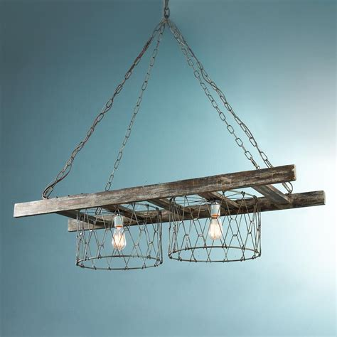 Wire Basket Chandelier Rustic Ladder Island Chandelier Rustic Chain And Wire Baskets Create This Farm House Inspired