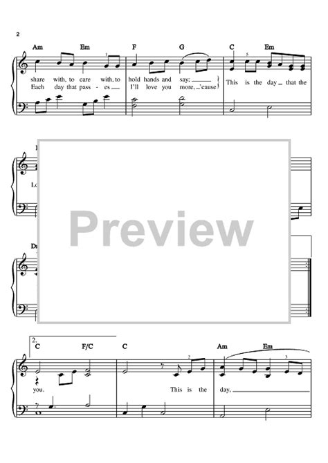 Wedding Song This Is The Day by This Is The Day A Wedding Song Sheet For Piano
