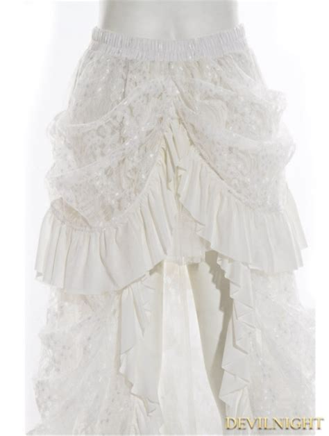 white high low lace steunk skirt devilnight co uk
