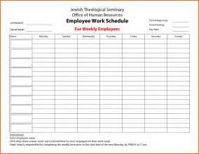 Weekly Employee Schedule Template Free Employee Work Schedule For Weekly Employees Employee Work Schedule
