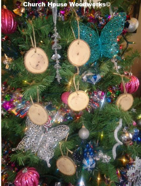 country ornaments for trees church house collection wood slice ornaments for