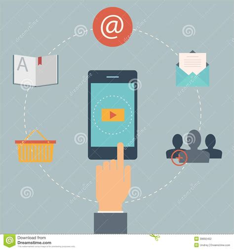 mobile web marketing set of flat design web icons for mobile phone services and