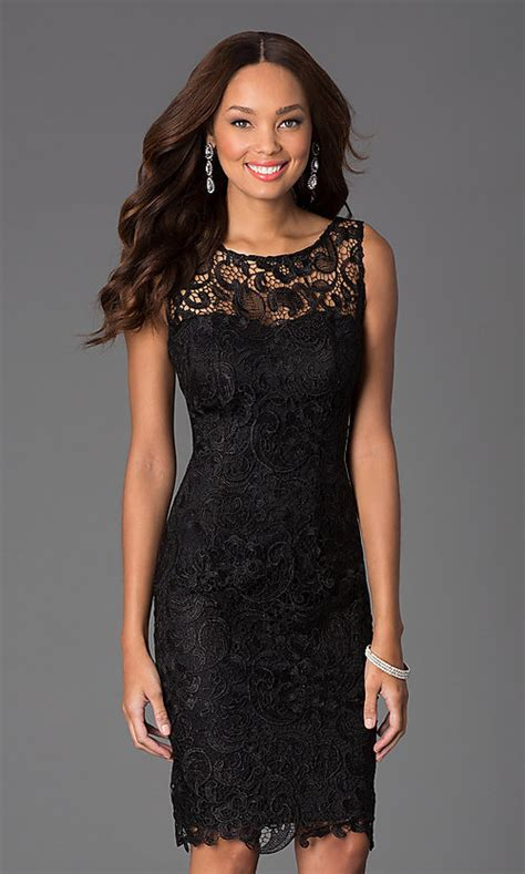 knee length sleeveless lace cocktail dress