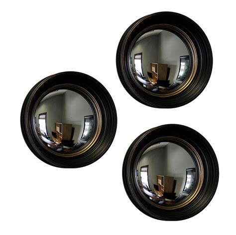 Black Mirror Z Eyes | set of 3 black and gold framed convex fish eye wall