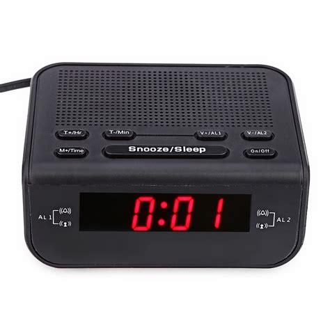 modern digital fm radio alarm clock 0 6 inch led display with dual alarm buzzer snooze sleep