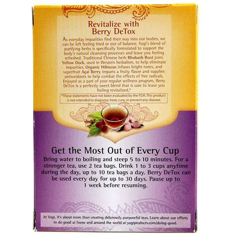 Detox Tea South Africa by Yogi Tea Organic Teas Blend Detox Berry 16 Bags