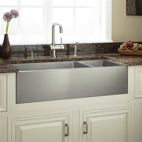large farmhouse sink large stainless steel farmhouse sink signature hardware