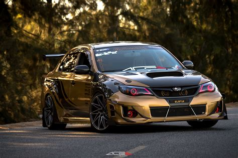custom subaru beast mode on custom gold debadged subaru wrx carid com