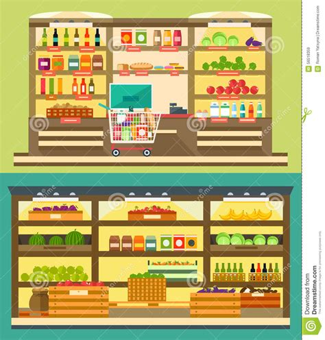 Shelf Study Of Food Products by Grocery Store Supermarket Shelves With Food And Drink Stock Vector Image 56518359