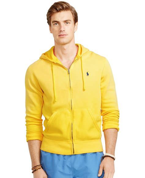 Sweater Polo Jaket Fleece Hoodie Zipper Polo Ralph Zip Fleece Hoodie In Yellow For