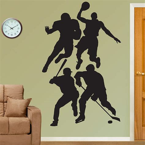 size athlete wall stickers size assorted sports athletes silhouettes wall decal