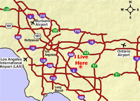map of los angeles with freeways la freeway map pictures to pin on pinsdaddy
