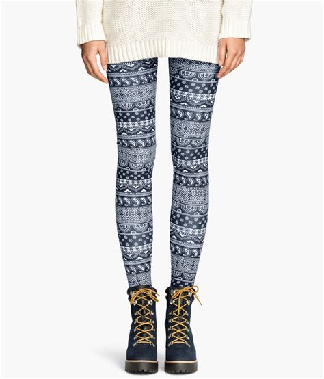 patterned tights h m lyst h m patterned leggings in blue