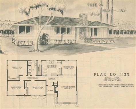 1950 modern ranch style house plan mid century home
