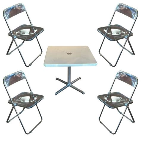 Folding Card Table And Chairs Modern Metal Folding Card Table And Four Quot Plia Quot Chairs By Piretti For Castelli For Sale At 1stdibs