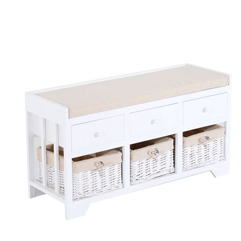 three basket storage bench homcom 3 drawer 3 basket padded storage bench white