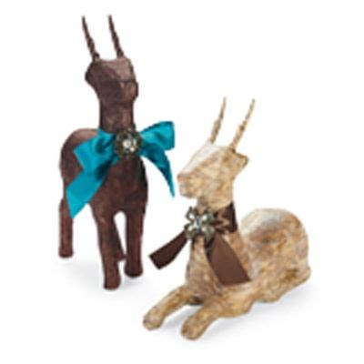 glitter paper mache reindeer christmas decor ideas