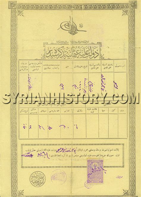 Syrian Birth Records Syrian History The Ottoman Birth Certificate Of Syrian