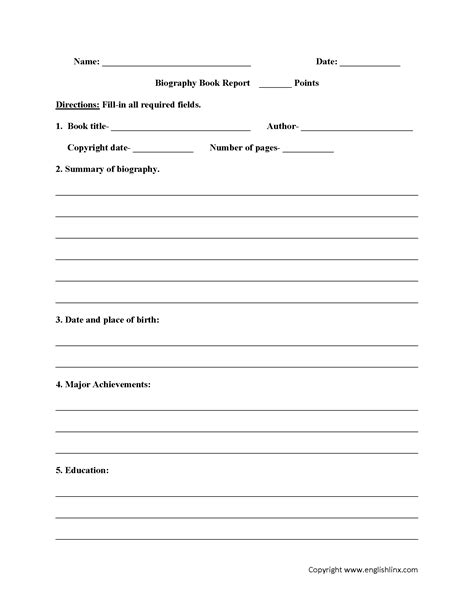 Biography Report Template For 5th Grade Biography Book Report Worksheets Homework