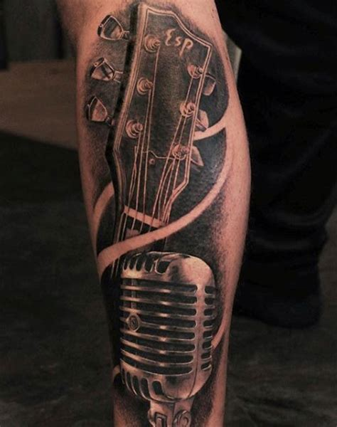 tattoo microphone and guitar 25 music tattoos for men