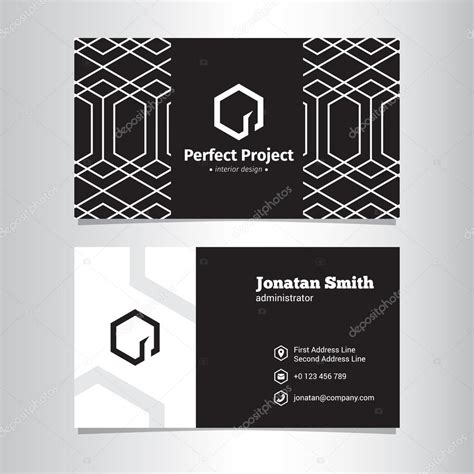 business card template with and logo vector geometric black and white business card