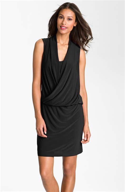 I Jersey Dresses by Dresses Surplice Blouson Jersey Dress In Black Lyst