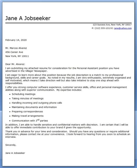 personal assistant covering letter personal assistant cover letter sle resume downloads