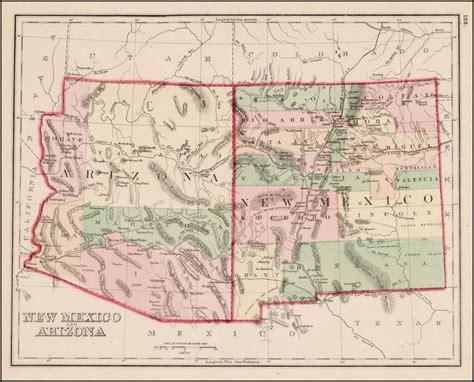 new mexico and arizona map new mexico and arizona barry ruderman antique