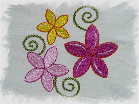 Embroidery Design In The Hoop | frangipani machine embroidery design 4x4 hoop