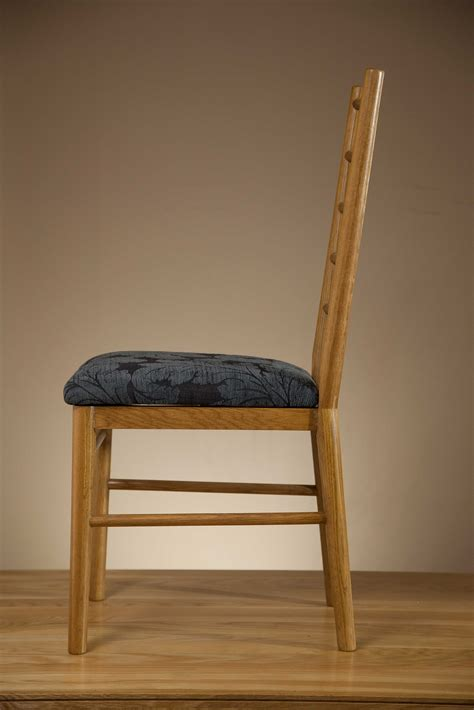 osaka rustic solid oak and blue patterned fabric dining chair