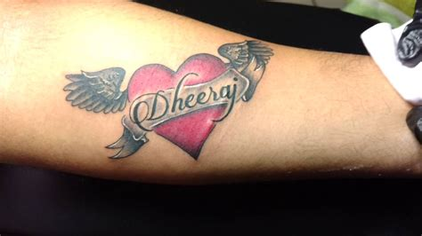 zero tattoo name rj tattoos name with heart and wings tattoo youtube