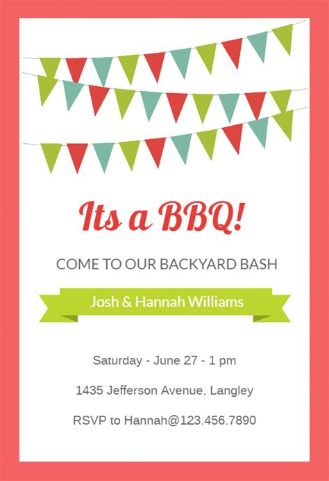 red pennants bbq party invitation template