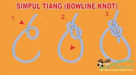 cara membuat tiang jemuran dalam pramuka tunas smarak membuat simpul tiang atau bowline knot