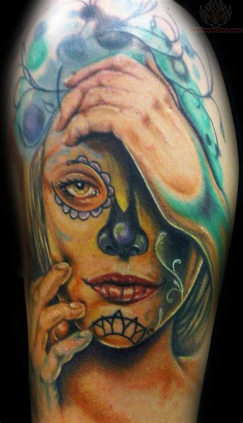 half sleeve skull tattoos sugar skull girly on half sleeve