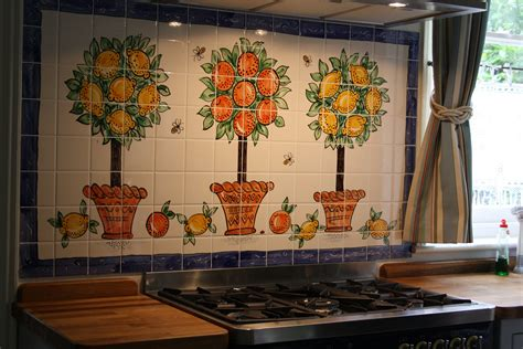 hand painted kitchen tiles  tile murals  splashbacks