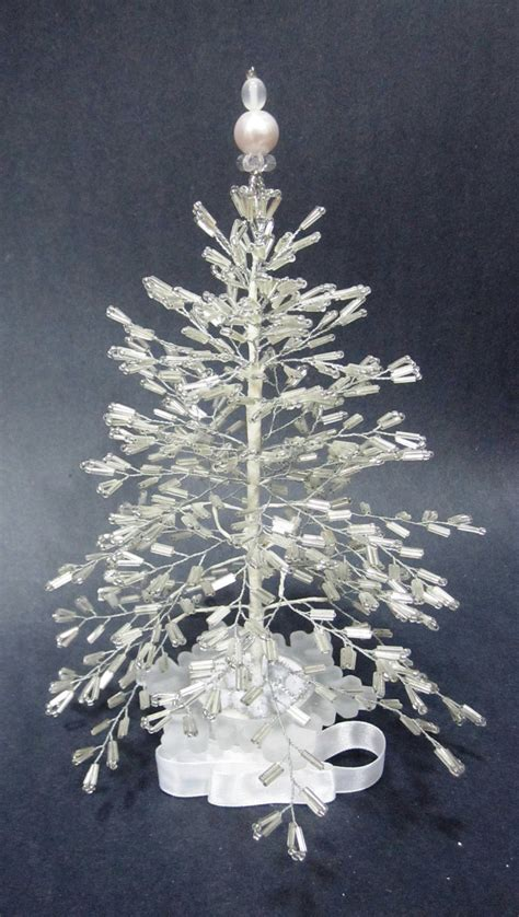 white beaded christmas tree