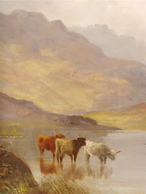 century highland cattle landscape oil painting