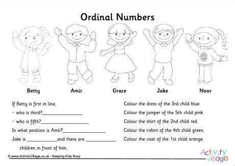 printable ordinal numbers worksheets ordinal numbers questions worksheet ordinal numbers