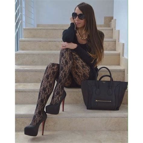lace tights black lace tights on