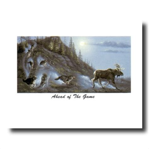 wolf wolves chase moose hidden wall picture art print