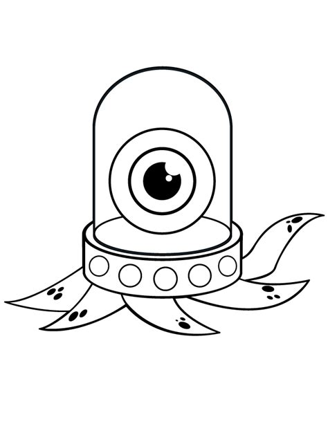 one eyed octopus monster coloring page free printable