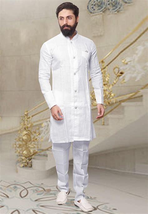 plain linen kurta set  white mhg