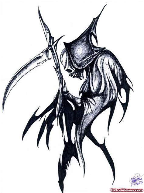 attractive outline grim reaper tattoo design tattoo